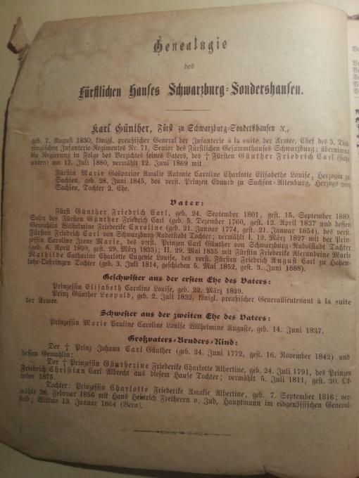Haus-Kalender 1891 Genealogie