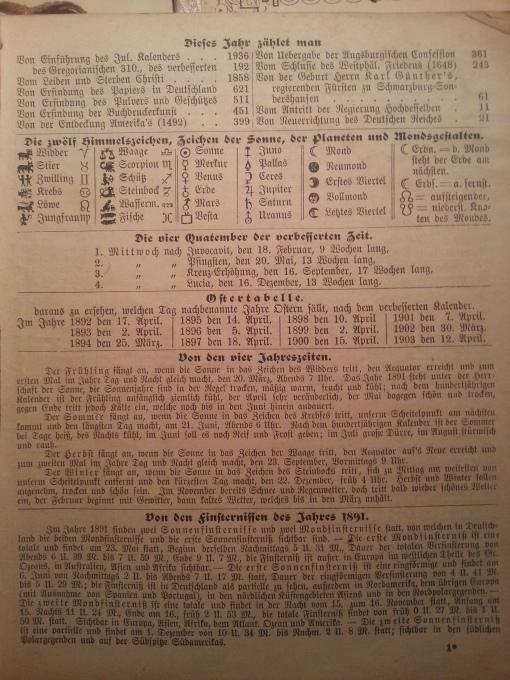 Haus-Kalender 1891 Quatember