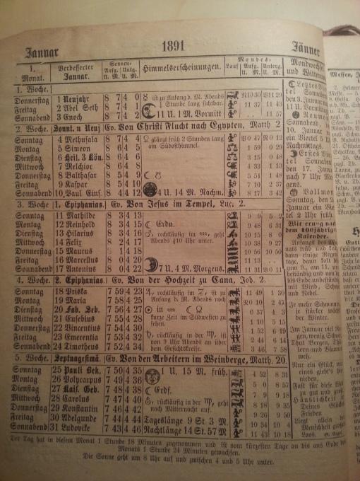 Haus-Kalender 1891 Januar