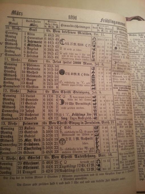 Haus-Kalender 1891 März