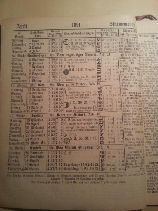 Haus-Kalender 1891 April