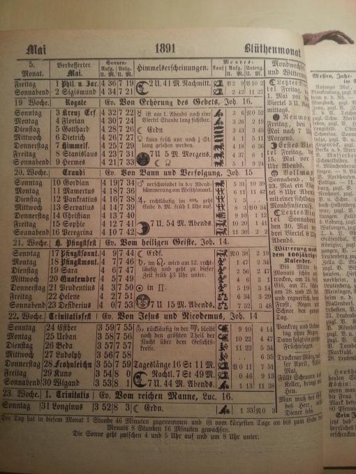 Haus-Kalender 1891 Mai