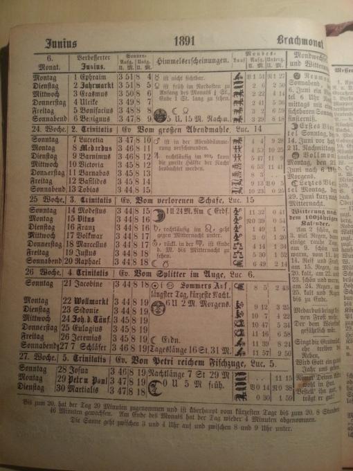 Haus-Kalender 1891 Juni