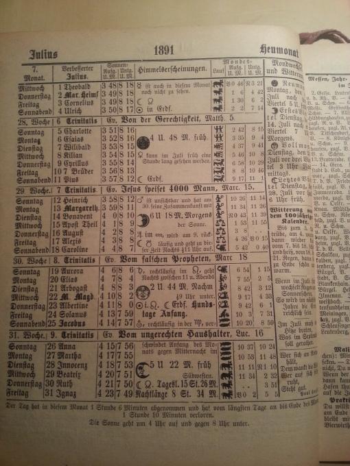 Haus-Kalender 1891 Juli