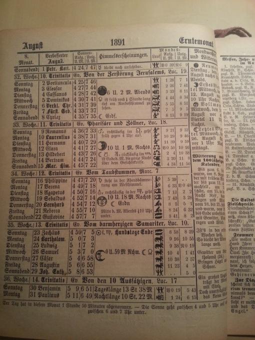 Haus-Kalender 1891 August