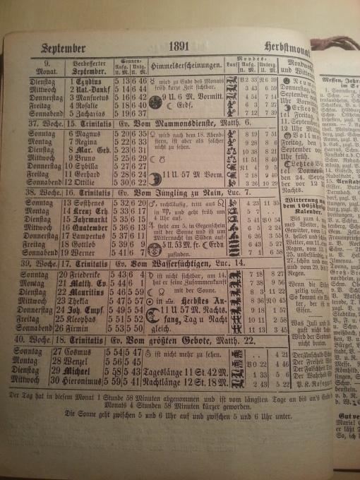 Haus-Kalender 1891 September