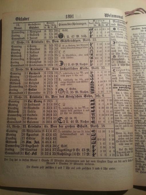 Haus-Kalender 1891 Oktober