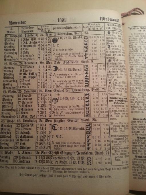 Haus-Kalender 1891 November