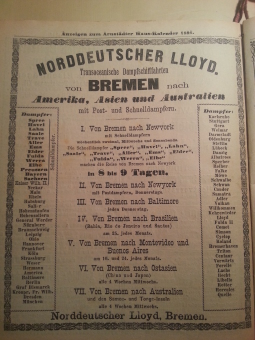 Haus-Kalender 1891 Lloyd
