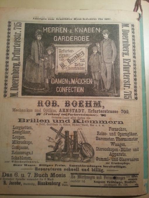 Haus-Kalender 1891 Werbung