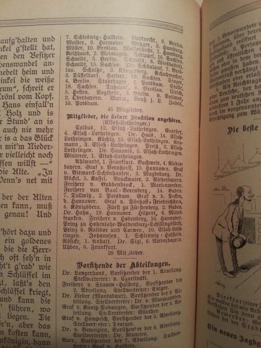 Haus-Kalender 1891 Bundesrat Parteien