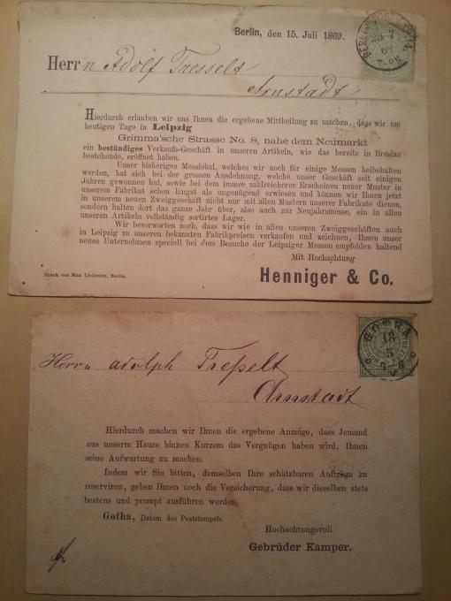 Postkarten Besuch 1869