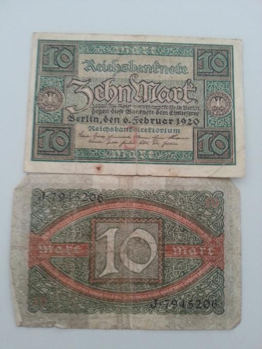 Reichsbank 10 Mark 1920