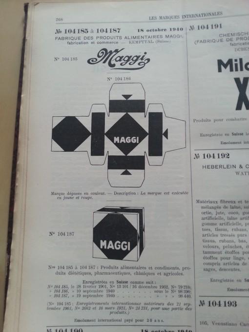 Trademark-Verzeichnis 1940 Maggi