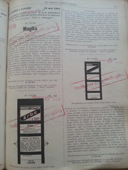 Trademark-Verzeichnis 1944 Maggi