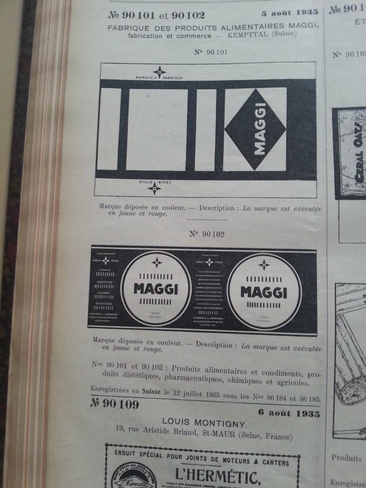 Trademark-Verzeichnis 1935 Maggi