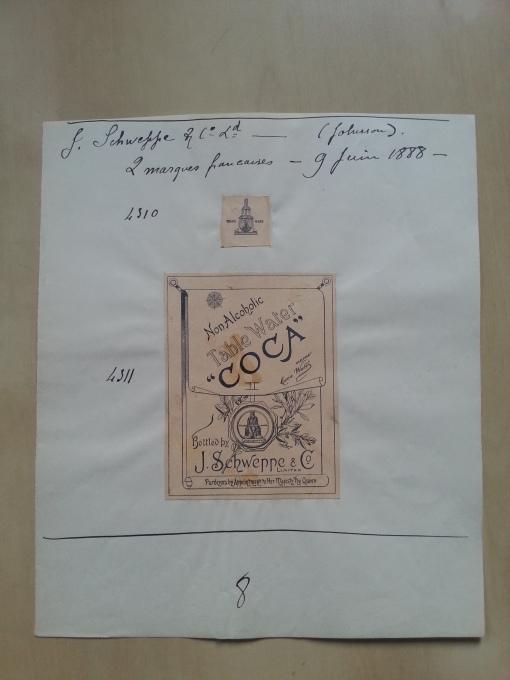 Patentbuch Trademark 1888 Schweppes Coca