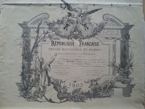 Polizei-Urkunde 1903 Eligny