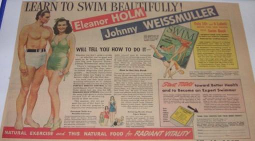 Schwimm-Werbung USA Tarzan und Jane 1938