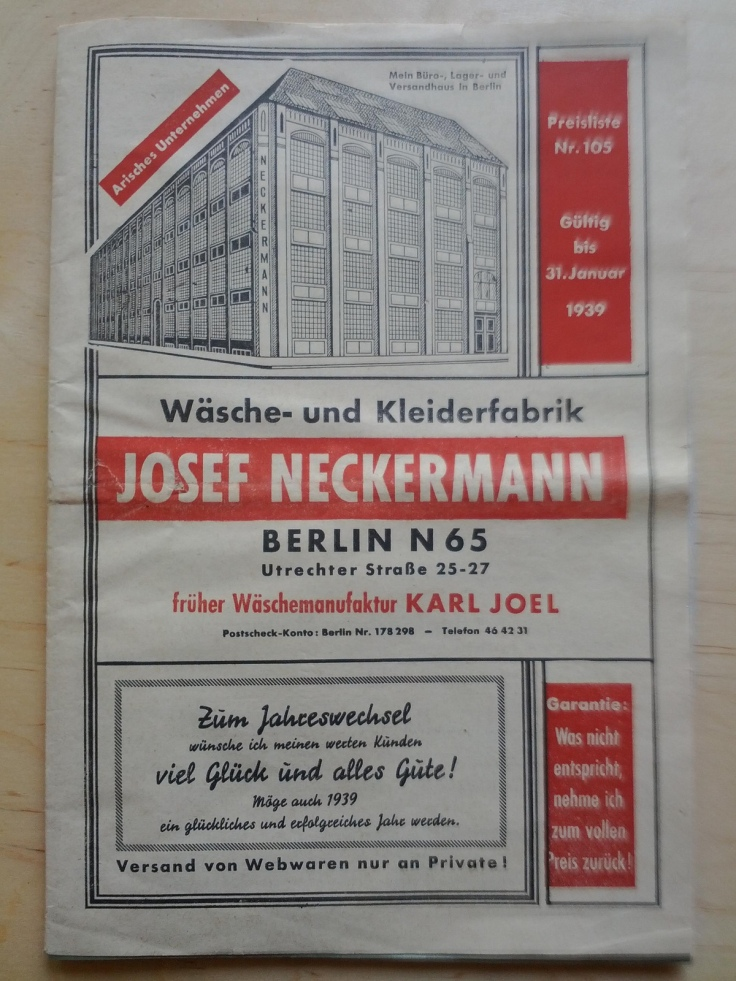 Neckermann Katalog 1939 arisch