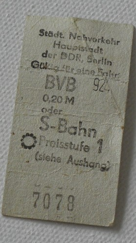 Fahrkarte Berlin DDR