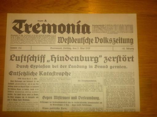 Zeppelin Absturz Zeitung 7. Mai 1937