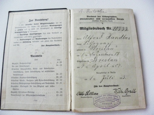 Lithographen Verband Mitgliedsbuch