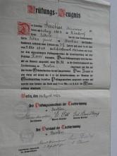 Prüfungs-Zeugnis 1923