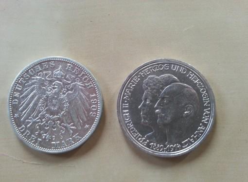 Geld Münze Drei Mark 1909 1914