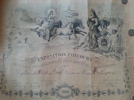 Urkunde Nahrungsmittel-Ausstellung 1899