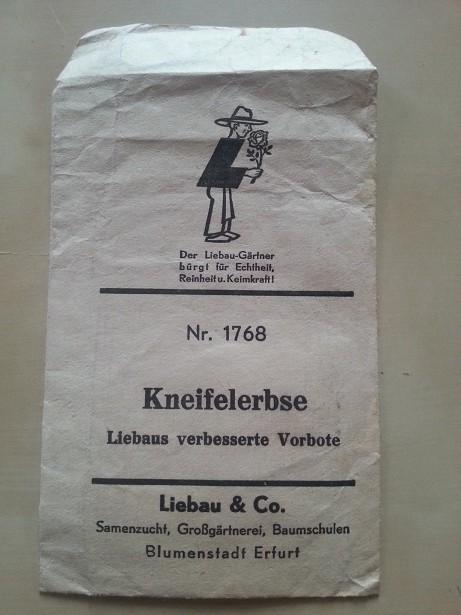 Samentüte Kneifelerbse Erfurt 1940er Schalerbse