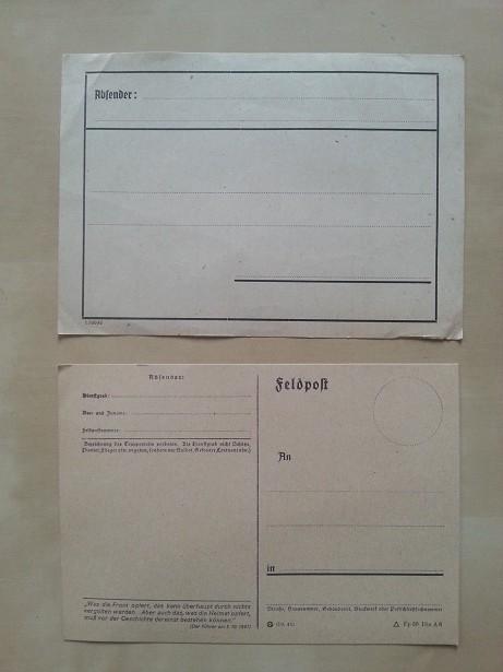 Feldpostkarte und Feldpost Paketaufkleber