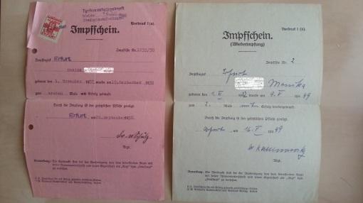 Impfschein 1938 1949