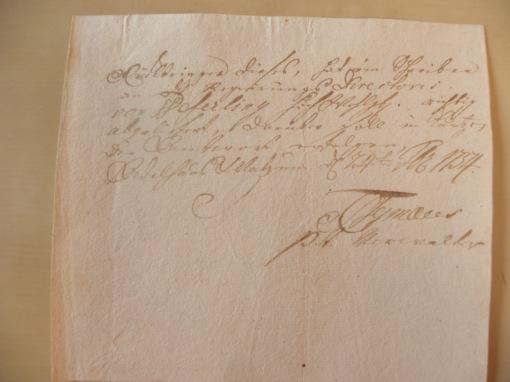 von Damm Auslieferungsbeleg 1754