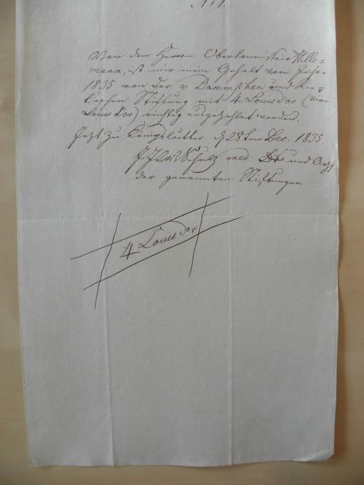 von Damm Quittung 1835 4 Louisdor
