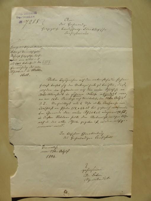 von Damm Brief 1894