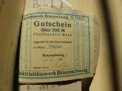 von Damm Gutschein Elektrizitätswerk Braunschweig 1923