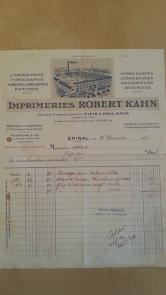 Rechnung 1938 Imprimeries Kahn