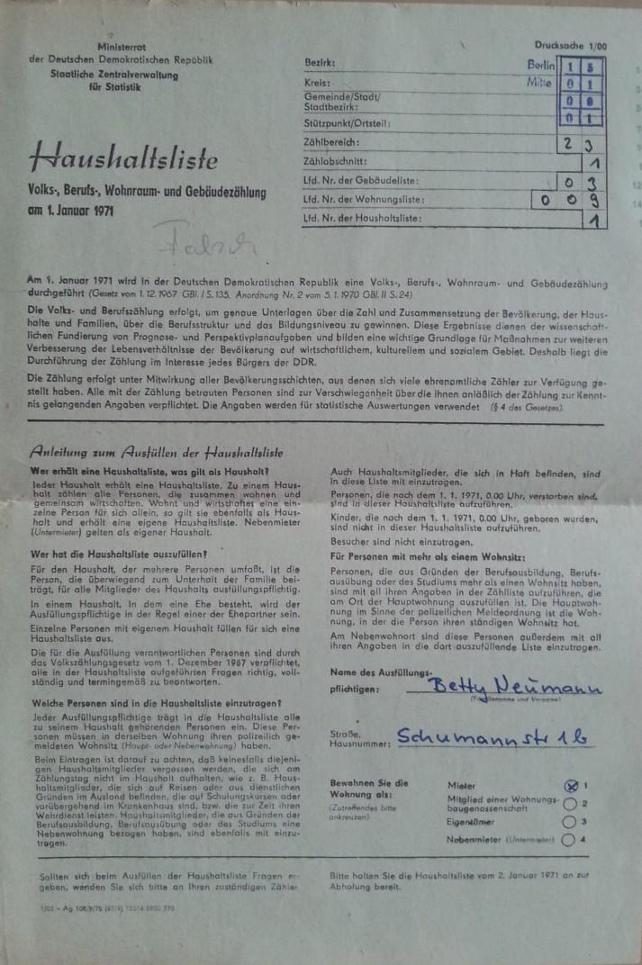 DDR Volkszählung