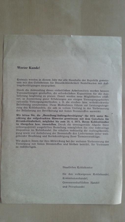 DDR Information Kohlenhandel