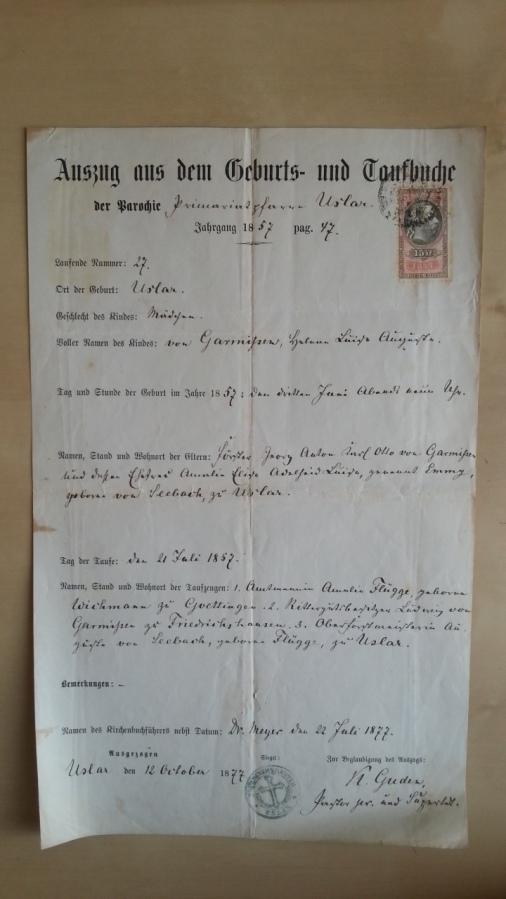 von Damm Auszug aus dem Taufbuch 1877