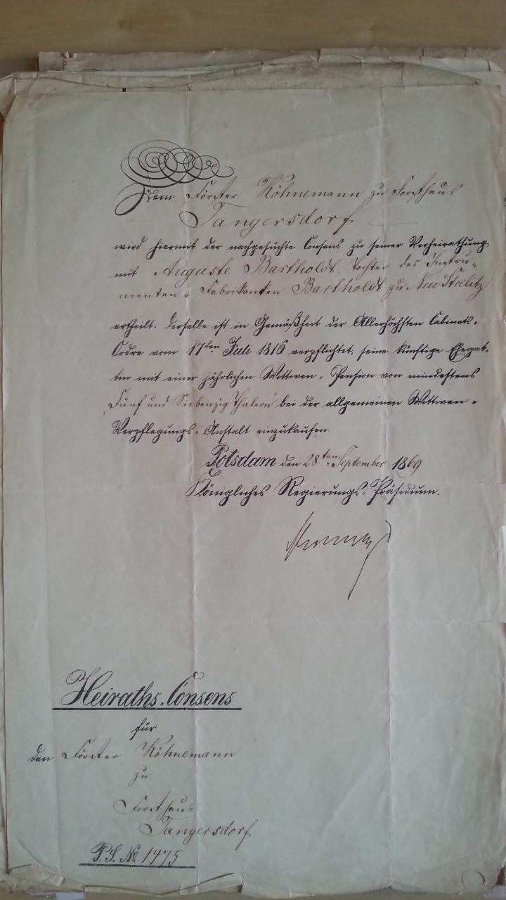 von Damm Köhnemann Heiraths-Consens 1869