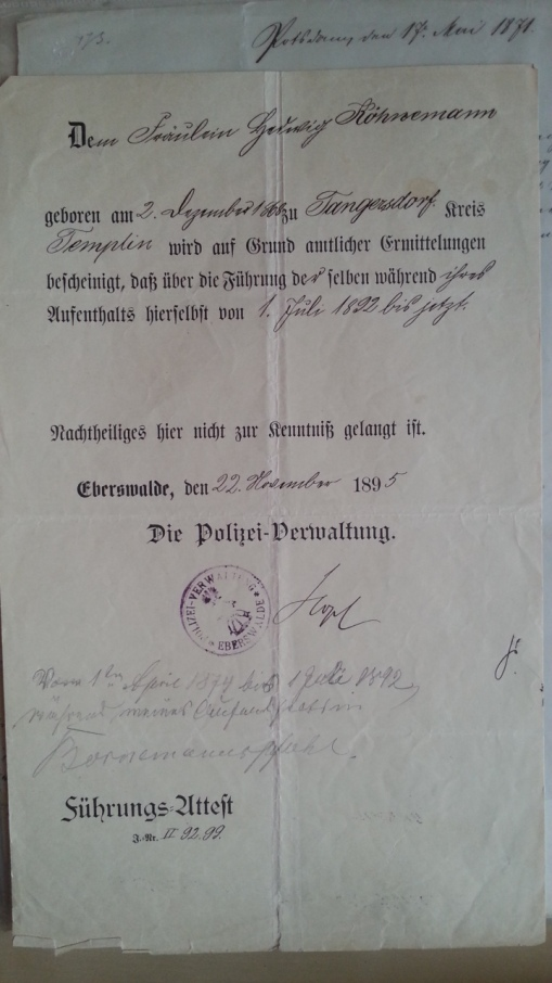 Polizeiliches Führungszeugnis 1895
