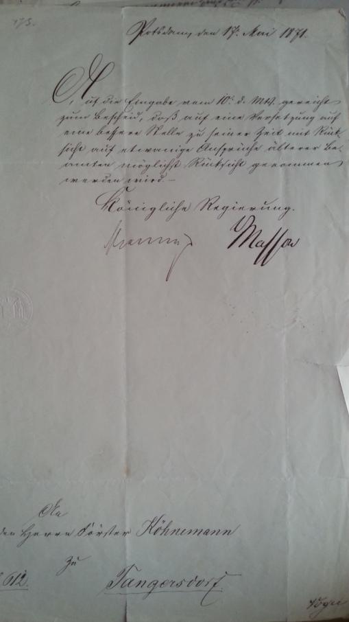 Versetzungsgesuch Förster Köhnemann 1871