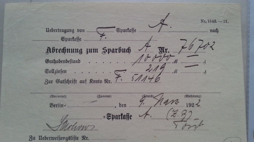Abrechnung zum Sparbuch 1922