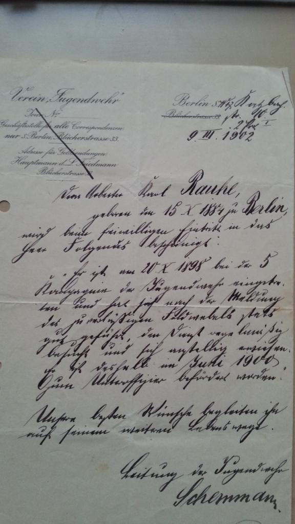 Verein Jugendwehr Rauhe 1902 Nachweis für freiwilligen Eintritt in das Heer