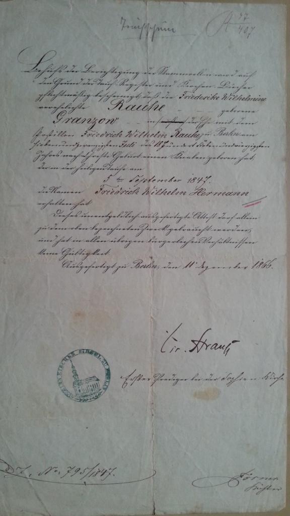Taufschein Rauhe 1866 5.9.1847 Sophien-Kirche Berlin