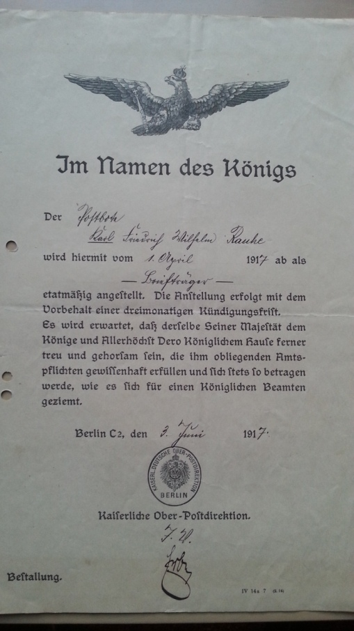 Ernennungsurkunde 1917