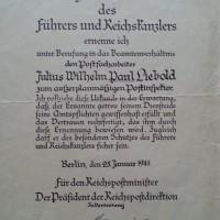 Im Namen des Führers - vom Postfacharbeiter zum außerplanmäßigen Postinspektor - Januar 1941