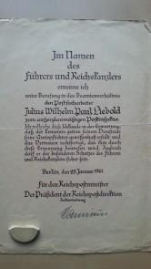 Ernennungsurkunde Januar 1941